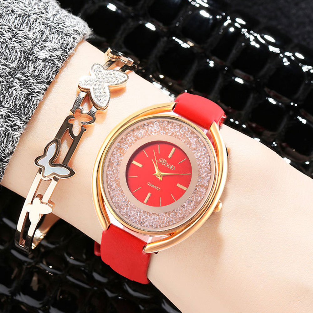 Women Watches Leather Gold Rose Black Dial Geneva Luxury Watch Female Fashion Clock Dress Woman Waterproof Ladies Watch Bracelet 2016 luxury brand ladies quartz fashion new geneva watches women dress wristwatches rose gold bracelet watch free shipping