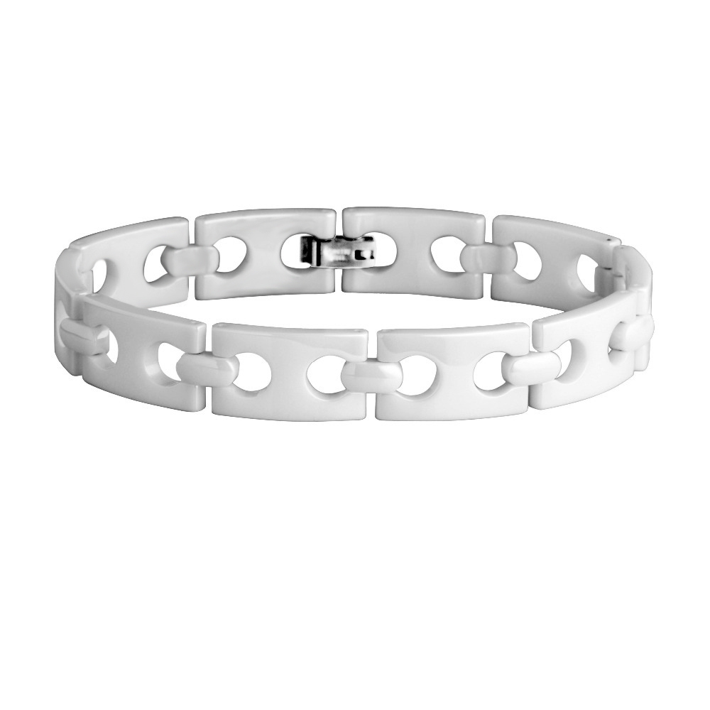Loves Polished Shiny Hi-tech White Ceramic Fashion style Link Bracelet /TUBR0024M