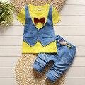 BibiCola Летняя мода Дети поддельные два 2 шт. одежда костюм Мальчика футболка + брюки экипировка набор дети джентльмен Комплектов Одежды