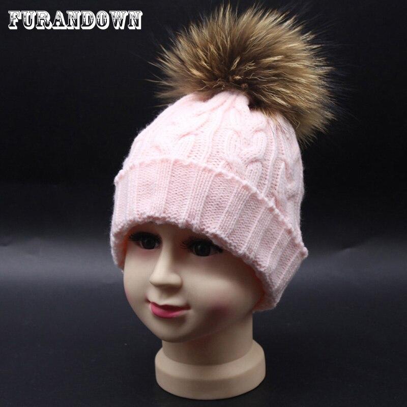 FURANDOWN Winter Girls Hats With Fur Pompom Children Knitting Skullies Beanies 100% Real Raccoon Fur Ball Caps skullies beanies winter woman fashion knitting hats with pompom beanies girls warm letter b cap