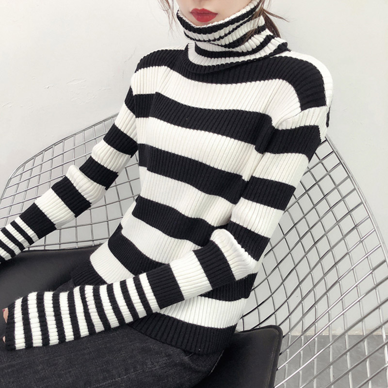 c8435f50d4 New style womens knitting sweater 2018 winter women pullover sweater ladies  black white striped turtleneck sweater women CS743-in Pullovers from Women s  ...