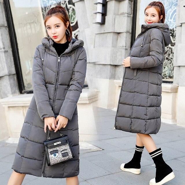 Plus size 6XL Down jackets 2018 Fashion Women Winter Coat Long Slim Thicken Warm Jacket Down Cotton Padded Jacket Outwear Parkas 1