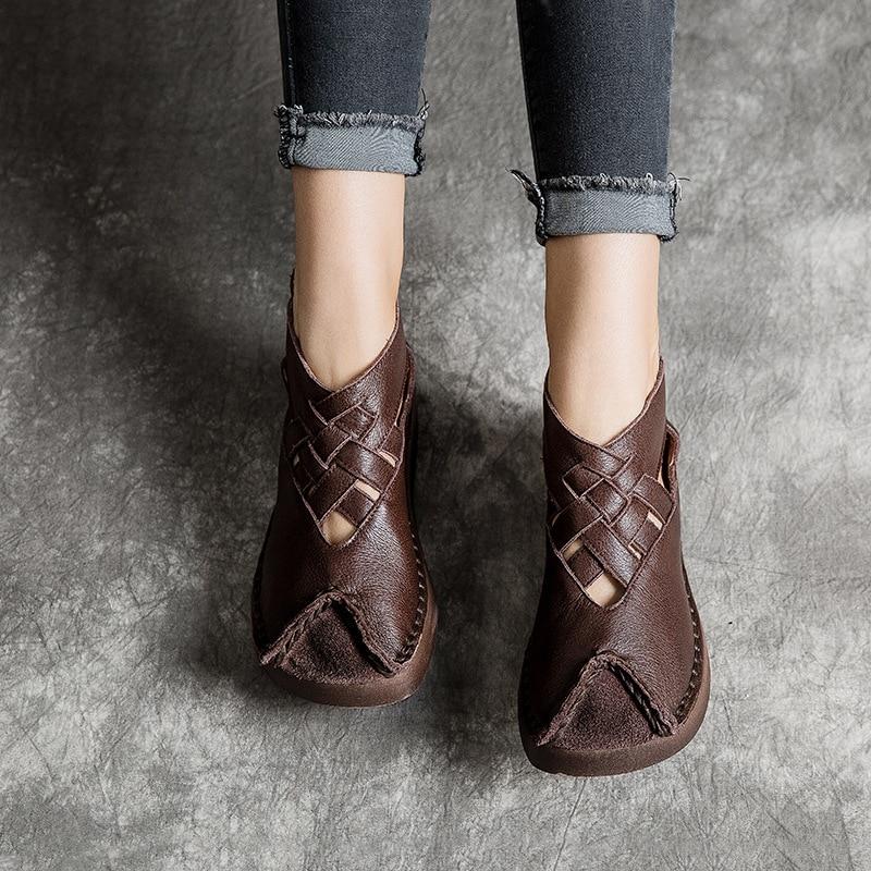 Johnature 2019 ใหม่ฤดูใบไม้ผลิ/ฤดูใบไม้ร่วงของแท้หนังผู้หญิงรองเท้า Retro Round Toe Casual Hook & Loop Wedges ปั๊ม-ใน รองเท้าส้นสูงสตรี จาก รองเท้า บน   3