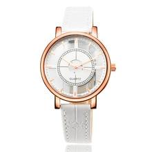 2017 Новый Горячий Продавать Кожаный Ремешок Наручные Часы Простой Стиль Женщины Кварцевые Часы Мода Уникальный Дизайн Дамы Смотреть Horloge Дам