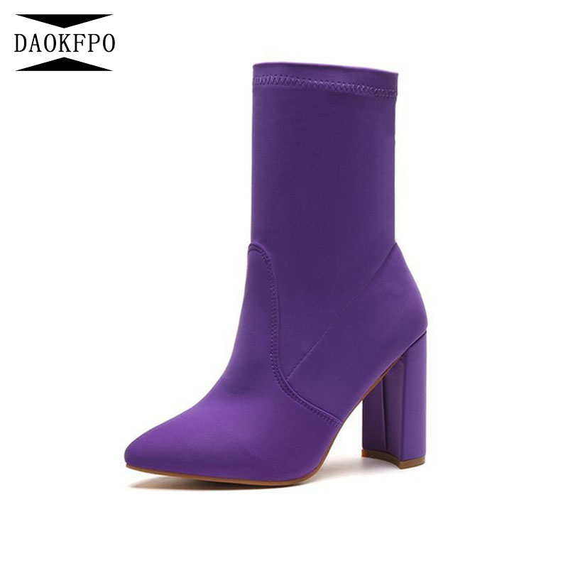 DAOKFPO 2018 New Women Elastic Boots Pointed Toe Elastic High Boots Slip On High Heel Mid-Calf Boots Women Pumps NVA-07