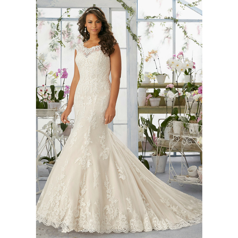 long lace mermaid wedding dress rm3194 elegant appliques scalloped neckline sleeveless plus size wedding gowns for