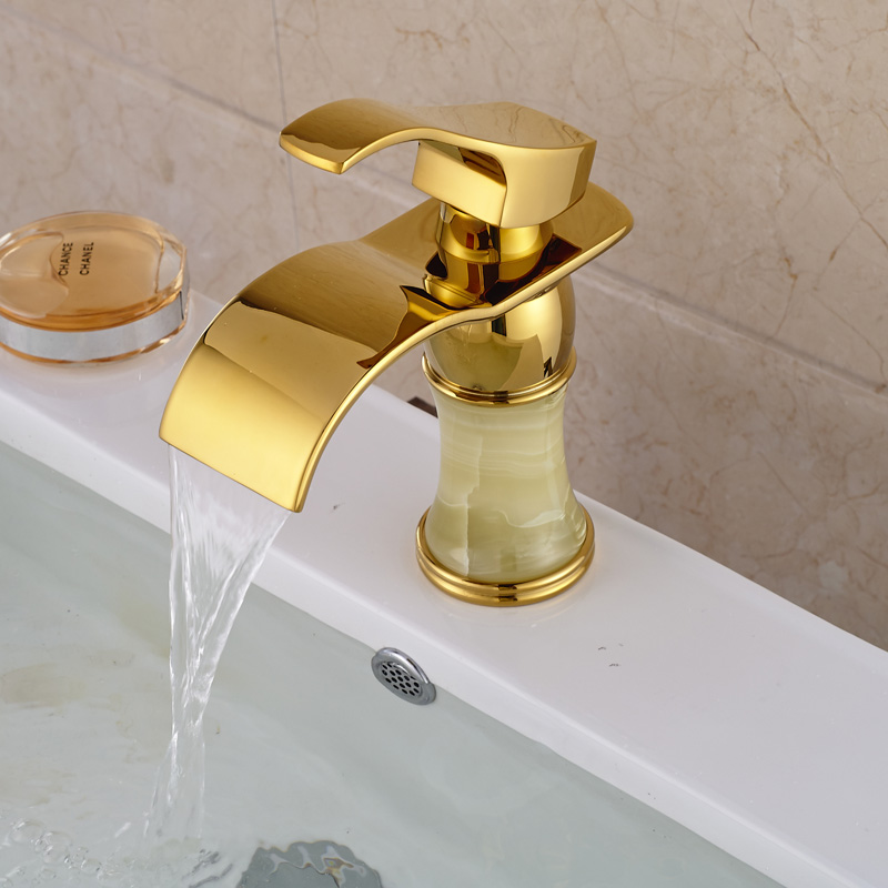 цена на New Ceramic Valve Waterfall Basin Faucet Golden Bathroom Brass Basin Sink Mixer Tap Hot/Cold