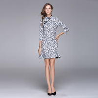 National Style 2017 Newest Spring Autumn Best Quality Vintage Cheongsam Blue And White Porcelain Trumpet Mermaid