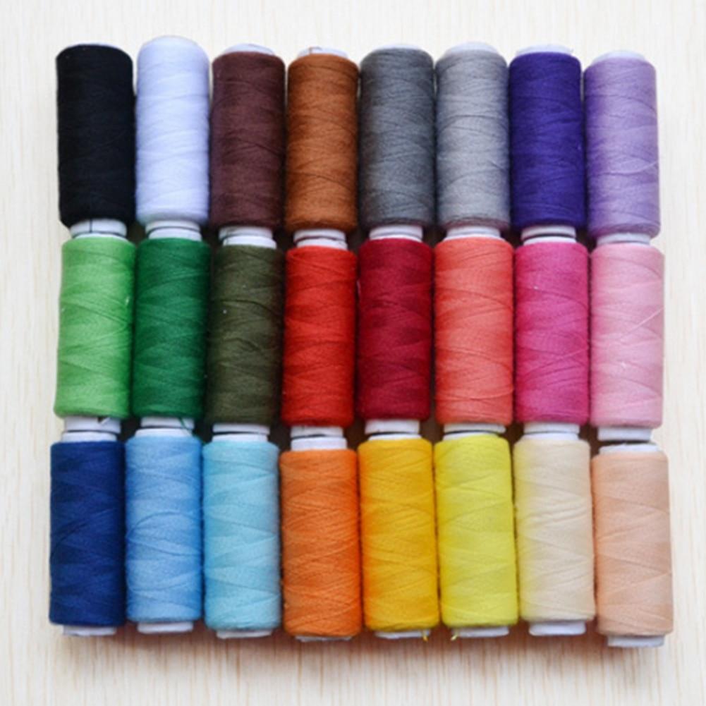 24 db Multi Colors Floss Kit DIY varróeszközök 200 yard poliészter hímzés varrógép szálak hímzés vonal kézzel készített
