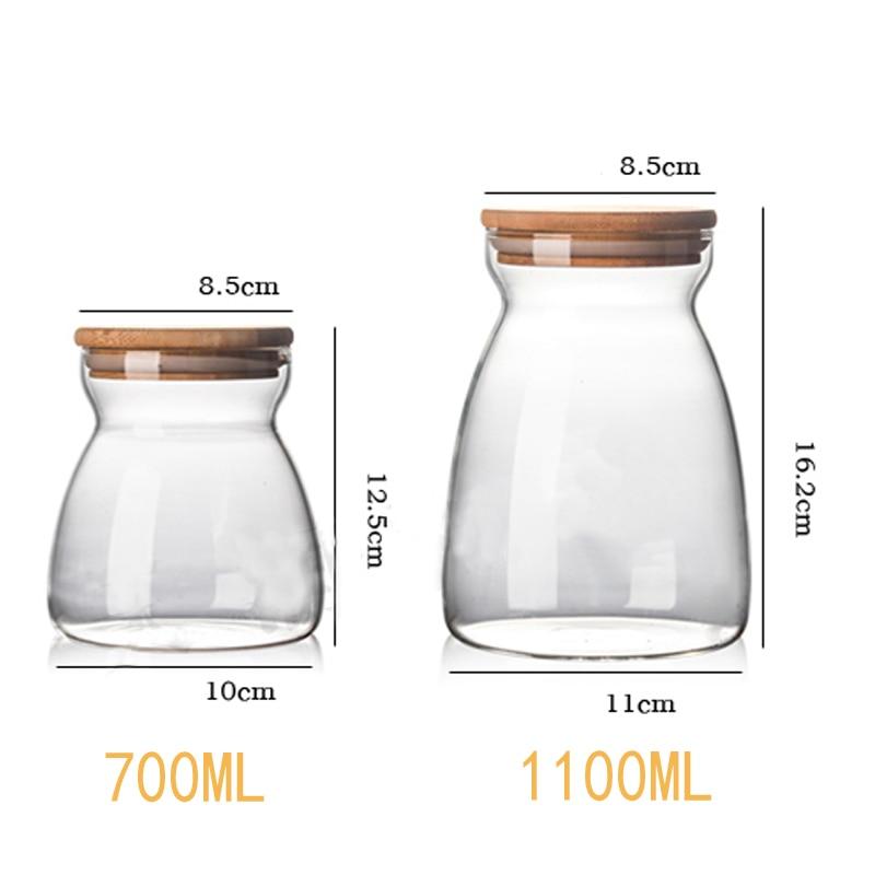 Kitchen Vases Glass Seasoning Jar Wooden Lid Spice Storage Box High Quality  Candy Jar