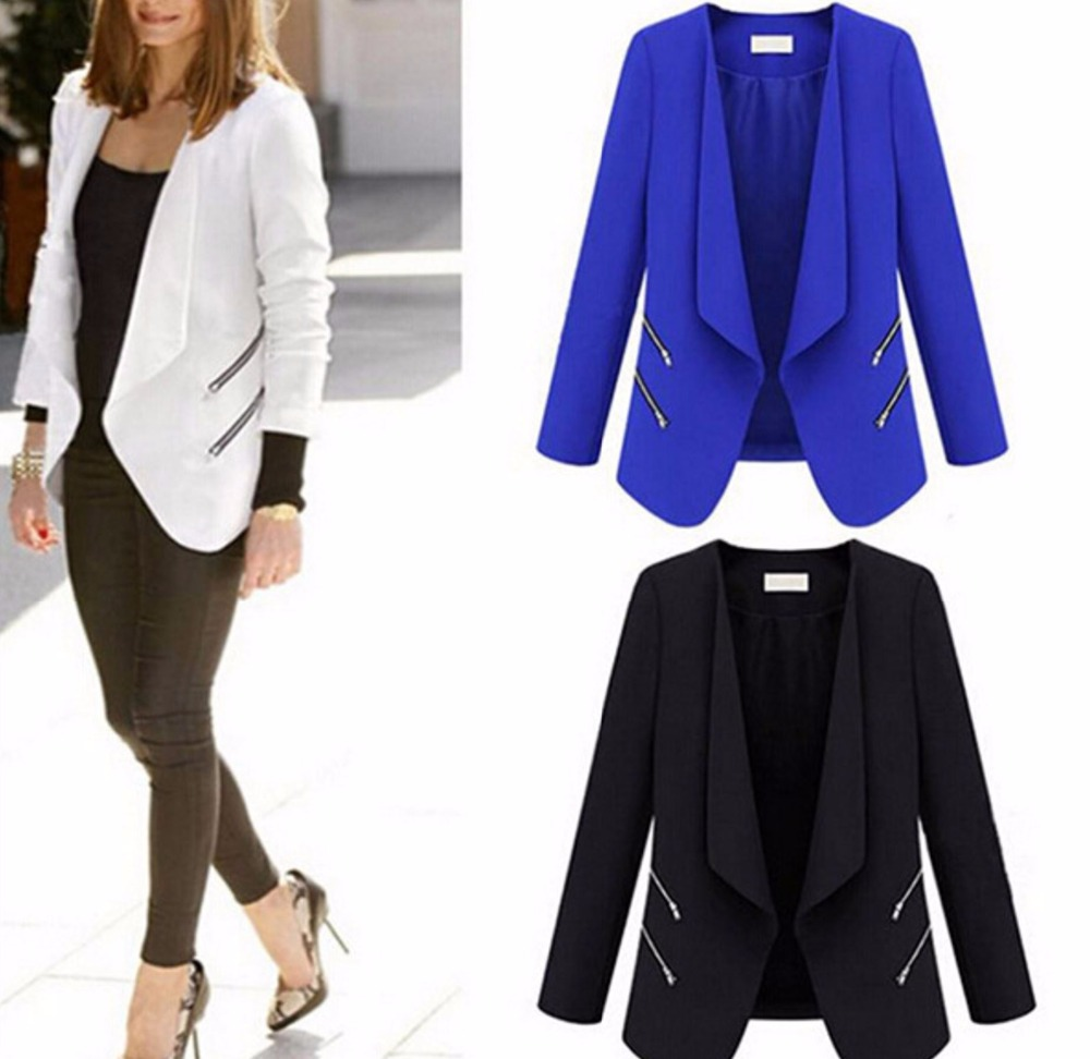 Woman turn down collar long sleeve font b blazer b font high quality fashion zipper font
