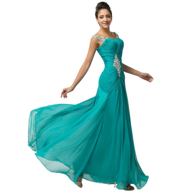 Aliexpress.com : Buy Elegant Turquoise Green Evening Dress ...