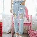JIBAIYI harajuku denim pantalones de las mujeres 2017 de primavera azul claro washed jeans tobillo longitud pantalones bolsillos rasgados pantalones de buena calidad