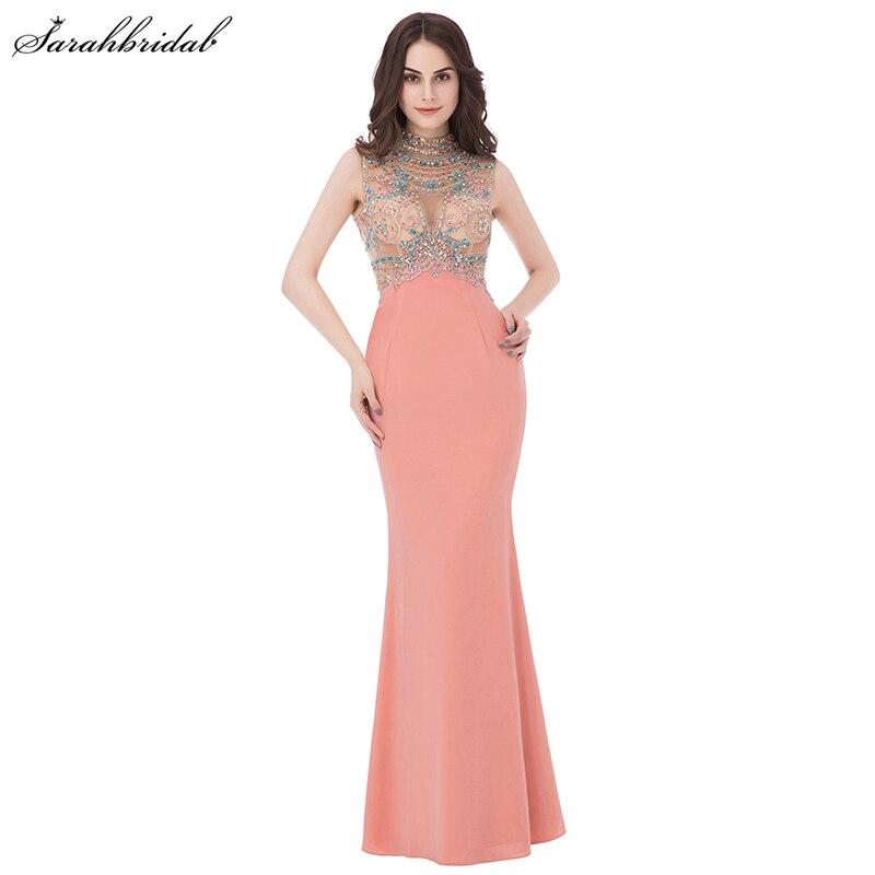 In Stock Long Formal   Prom     Dresses   Mermaid High Collar Jersey Zipper Sequins Evening   Dresses   Crystal Robe De Soiree LSX291