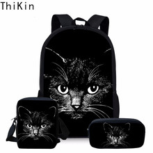 THIKIN 3PCS/SET Black Cat Print School Backpack for Teenage Girls Cute Student Kids Schoolbag Children Pencil Bag Mini Messenger