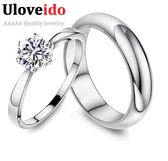 ad0f2f61f03082 Best Sellers Silver Eternity Ring Six Claws CZ Diamond Bagues Couple Wedding  Rings for Men & Women Concise Jewelry Uloveido J063