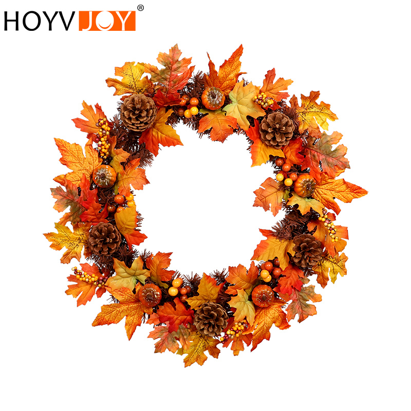 HOYVJOY Autumn PVC maple pine cone large garland Halloween Thanksgiving Decoration Wreath Christmas wreath 60cm Free shipping