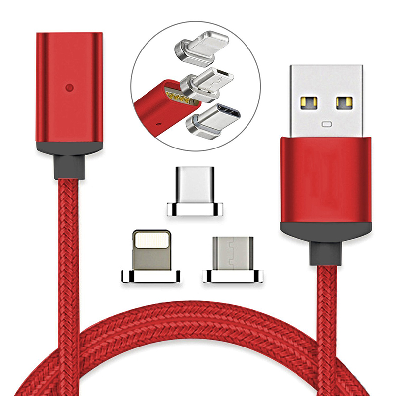 USB Type C/IOS/Micro 3 in 1 Magnetic Charging Cable Fast Charger Adapter Nylon Braided Magnet Data Sync Wire