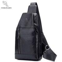 bdd8741ed93 YUES KANGAROO Brand Men Leather Chest Bag Sling Pack Crossbody Bag Male  Single Shoulder Messenger Bag