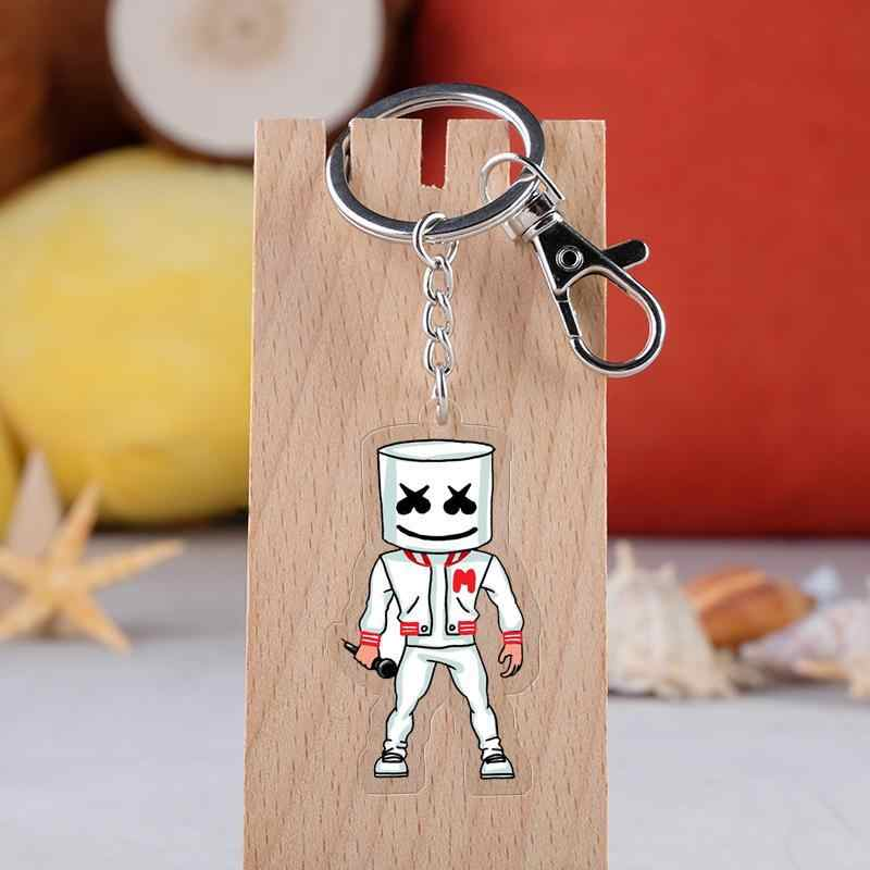 DJ Marshmello Keyrings Fashion Acrylic Cartoon Figure Car Key Chain Holder Keychain Jewelry Accessories Gift