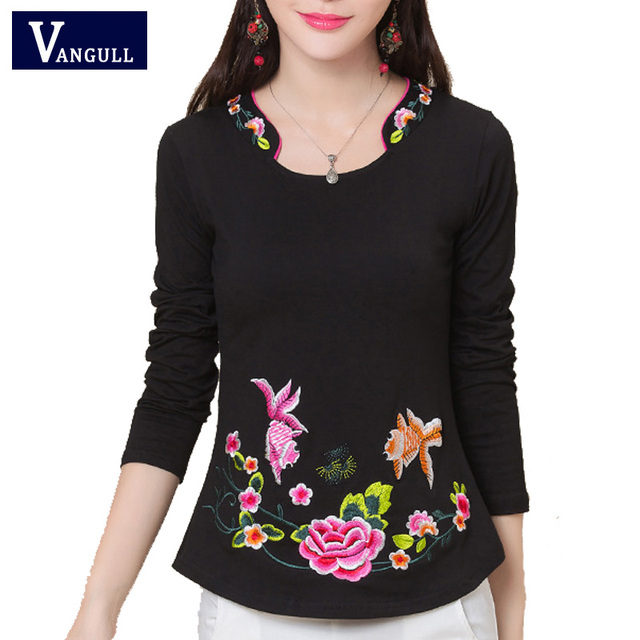 Women National Style Embroidery Plus Velvet Large Size T Shirt Fashion 2017 Spring Autumn Long Sleeve Warm Basic Slim Tees Tops