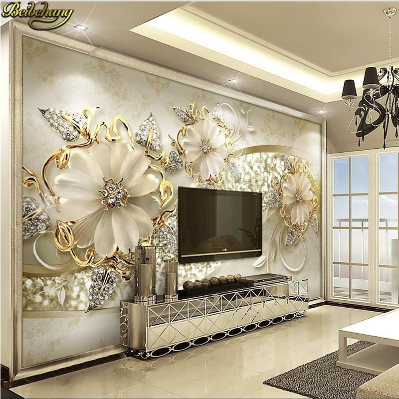 beibehang papel de parede Custom photo wall paper large fresco 3d luxury flowers 3d jewelry TV background wall 3d wallpaper