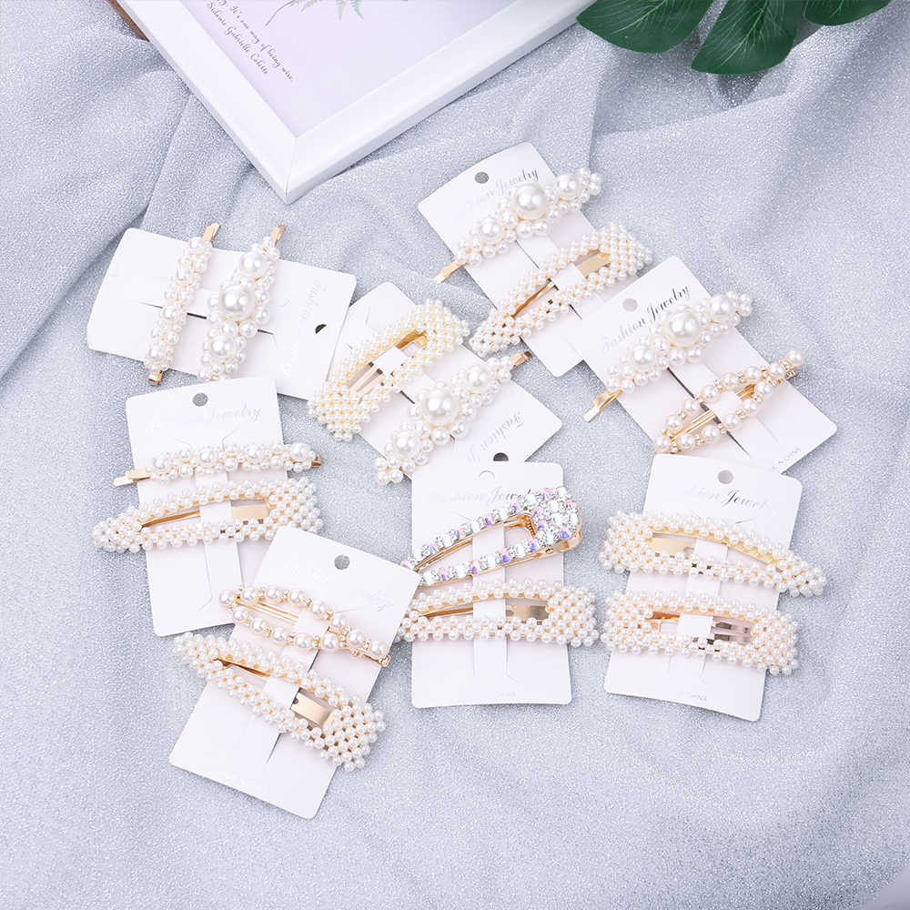 2Pcs/Set Fashion Pearl Imitation Beads Hair Clip Barrette Handmade Pearl Flower Stick Hairpin For Girls Hair Styling Accessories