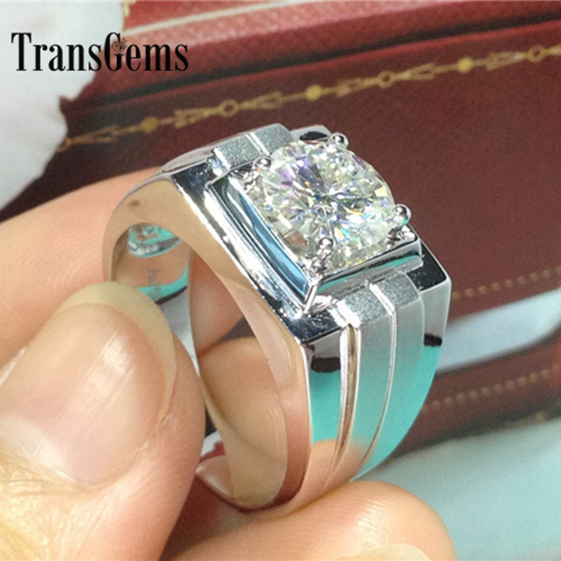 Transgems Luxury Quality 14k 585 White Gold Ring Classic 1 Carat Moissanite Men S Wedding Ring Men Engagement Wedding Band Ring Men Engagement Ring Menring Gold Aliexpress