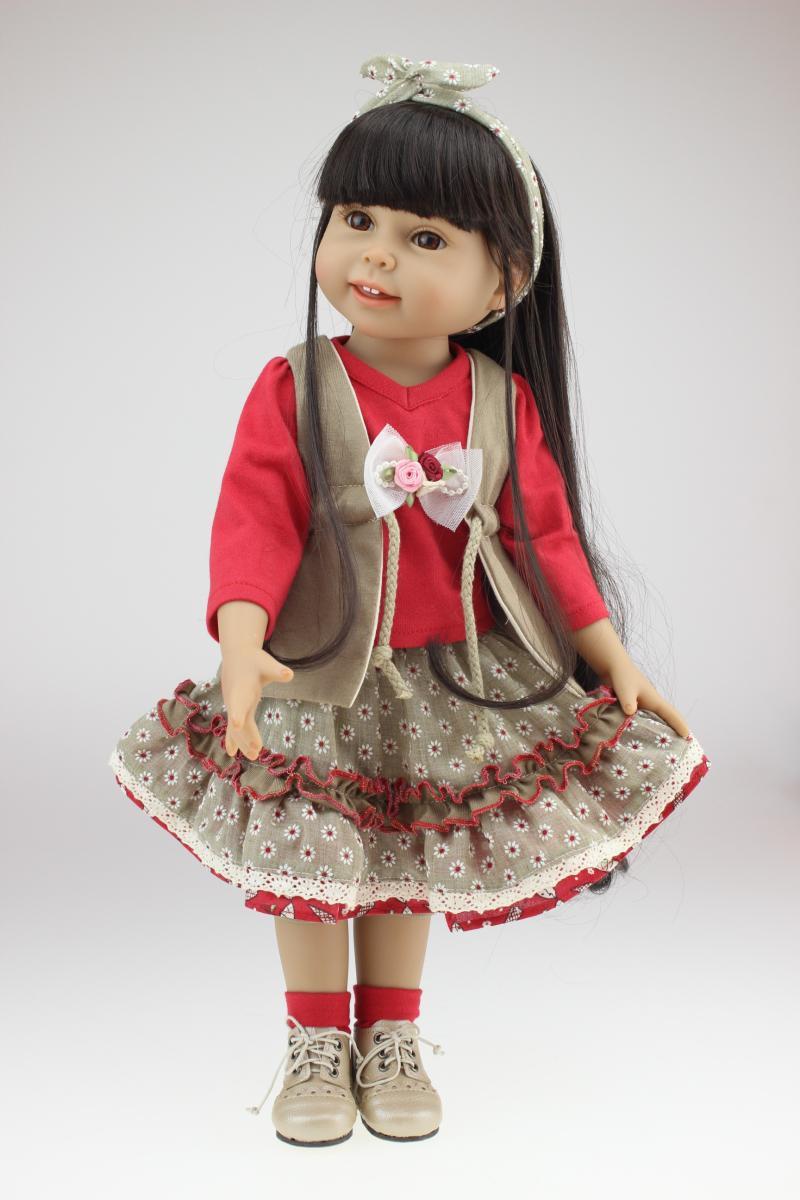 New AMERICAN PRINCESS 18 inch smiling girl doll long black hair handmade realistic cute toys for girls