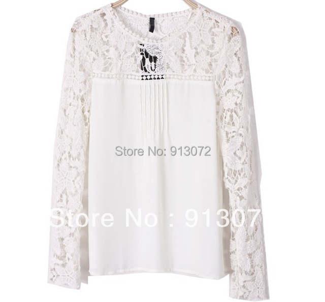 84bb21be03 Mulheres elegante sexy Lace manga chiffon blusa camisa do vintage oco fora  ombro malha encabeça Blusa