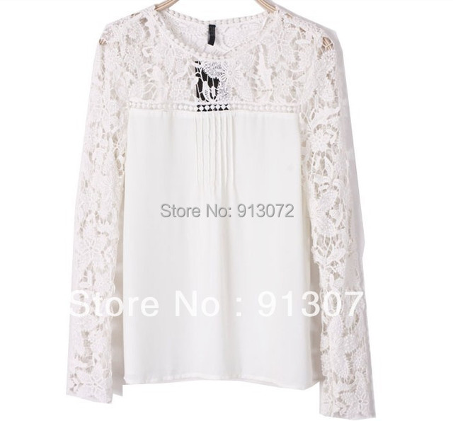 Women elegant sexy Lace sleeve chiffon blouse vintage shirt hollow out knitted shoulder tops Blusa De Rendas 4 colors S-XL ST747