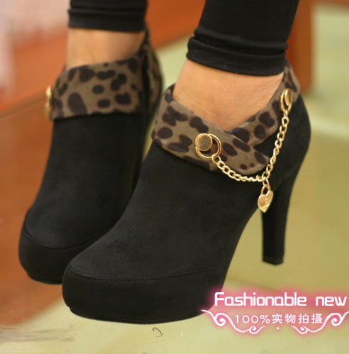 3b0f0fc5f882 High Heels Bootie Black Leopard Metal-Lace-Decorated Women s Ankle Boot Sexy  Lady Shoes Platform Pump Woman Sandals