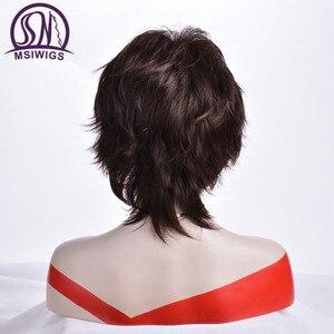 Image 4 - Msiwigs peruca curta para mulheres, cabelo sintético castanho escuro com franja ombré com destaques
