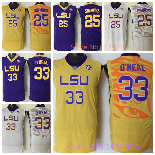 2295af109e5 Top Quality 100% Stitched LSU Tigers College Basketball Jersey  25 Ben  Simmons White Yellow Purple 33 Shaquille ONeal Jerseys