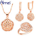 Almei Women Accessories Rose Gold Plated Jewellery Set Hollow Out Flower Crystal Jewerly Earrings 925 Silver Ring Necklaces T144