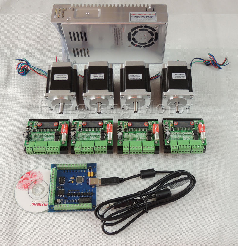 cnc mach3 usb 4 axis kit 4pcs tb6560 stepper driver 4
