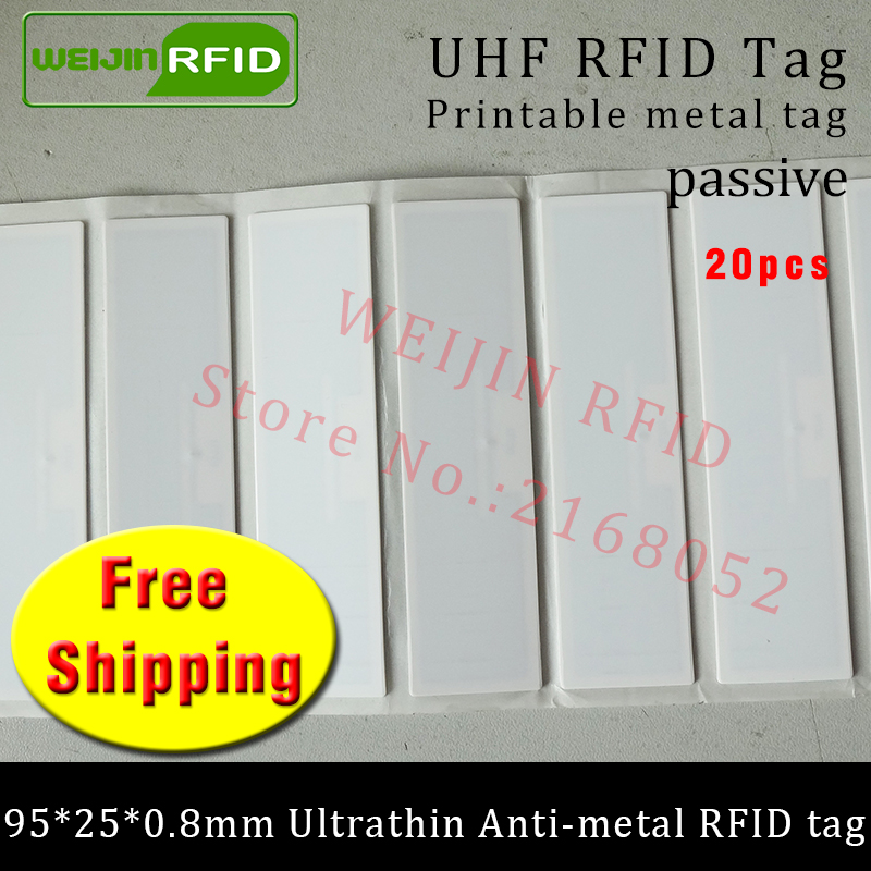 UHF RFID ultrathin metal tag 915m 868m EPC 20pcs free shipping IT fixed assets 95*25*0.8mm long reading distance PET RFID label 1000pcs long range rfid plastic seal tag alien h3 used for waste bin management and gas jar management