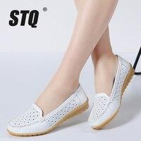 STQ 2016 Autumn Women Flats Shoes Women Genuine Leather Shoes Woman Cutout Loafers Slip On Ballet