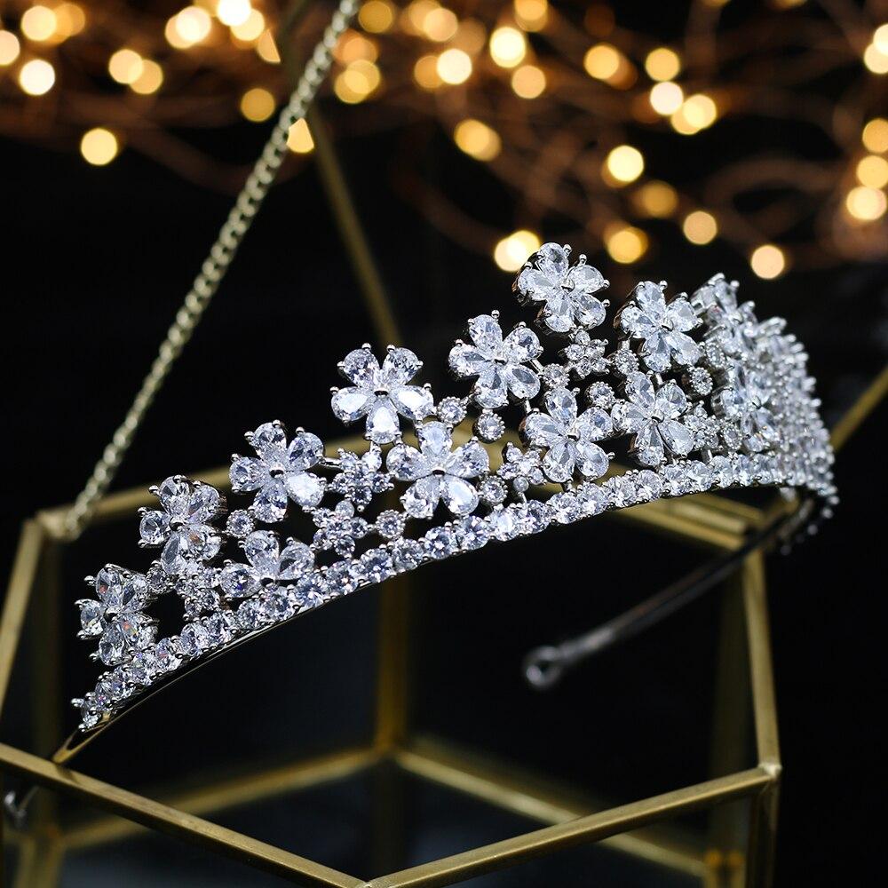 Europea Simple Sparkling completo Zircon Tiaras nupciales coronas cristal plateado Wedding Hairbands para las novias Dama
