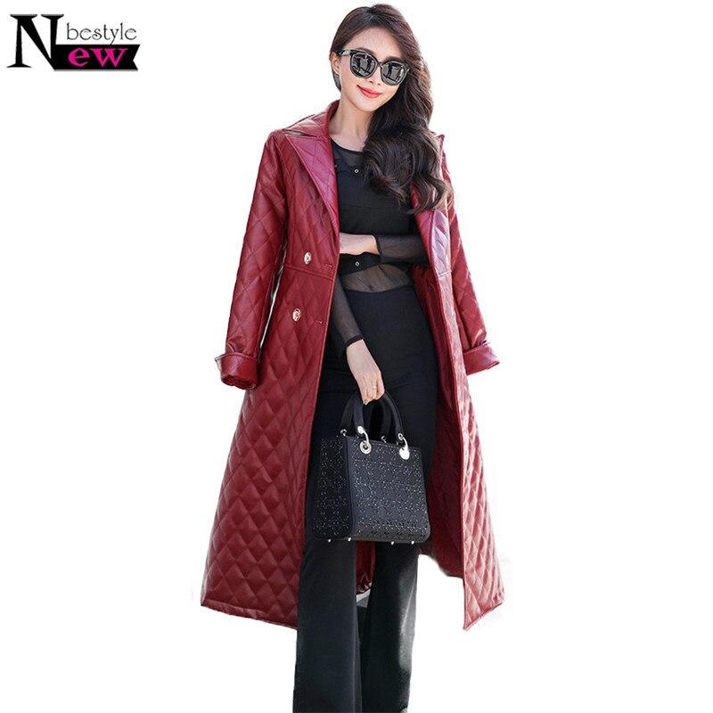 2019 Autumn Black   Leather   Jacket Women Fashion Quilted Jacket Coat Women Faux   Leather   Jackets Women Long Trench Coat Windbreaker