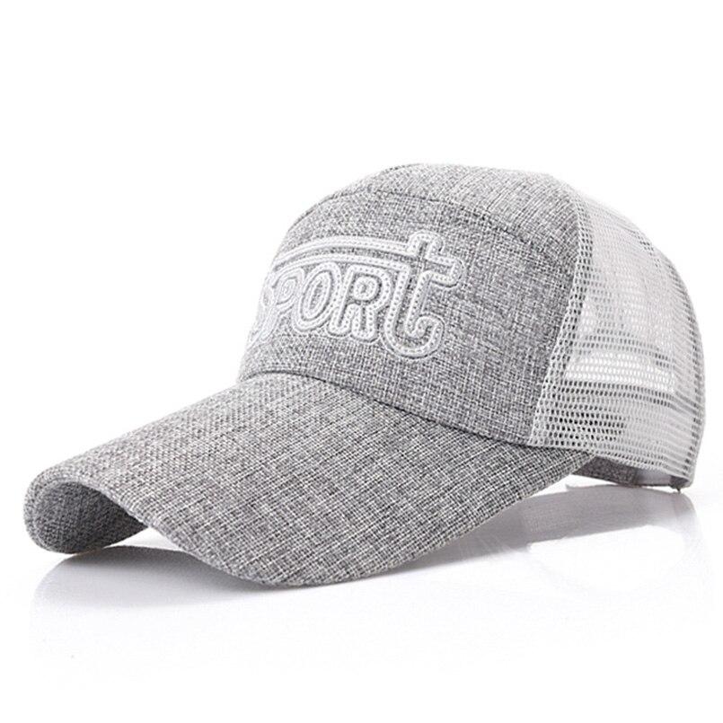 2018 Summer Baseball Cap Outdoor Linen Snapback Hat Breathable Quick-Drying Mesh Cap Camping Hiking Adjustable Dad Hat Sport Cap