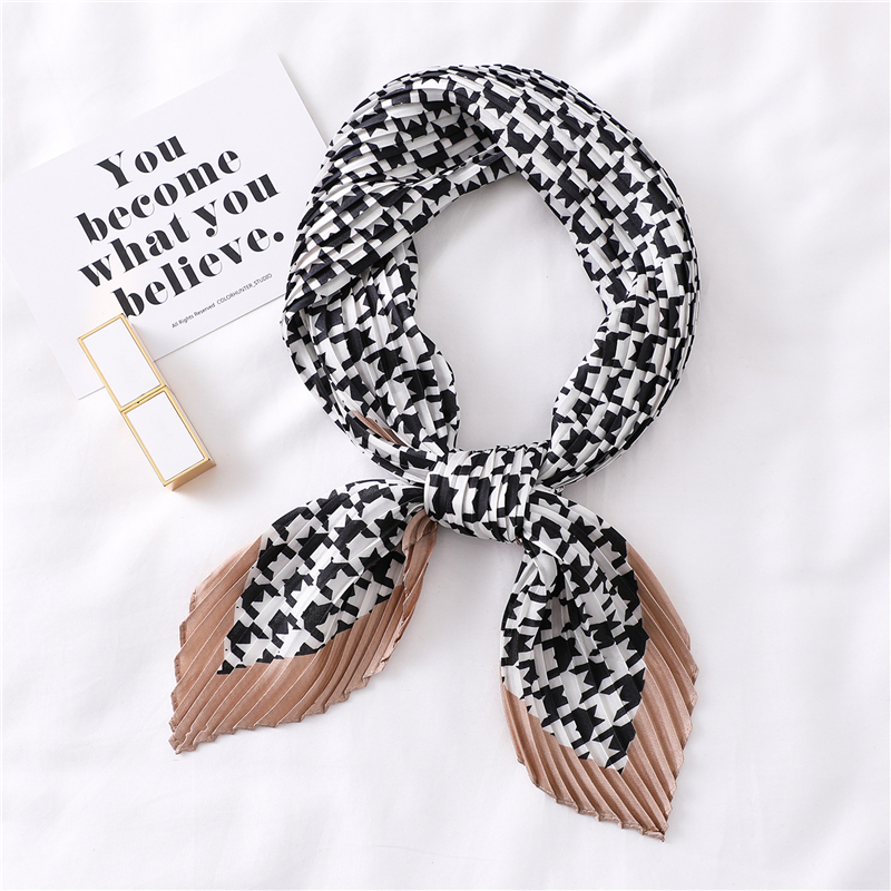 Silk Crinkle Scarf Women Foulard Hair Neck Scarfs For Female Print Fashion Handwear Band Pleated Plain Scarves Tie