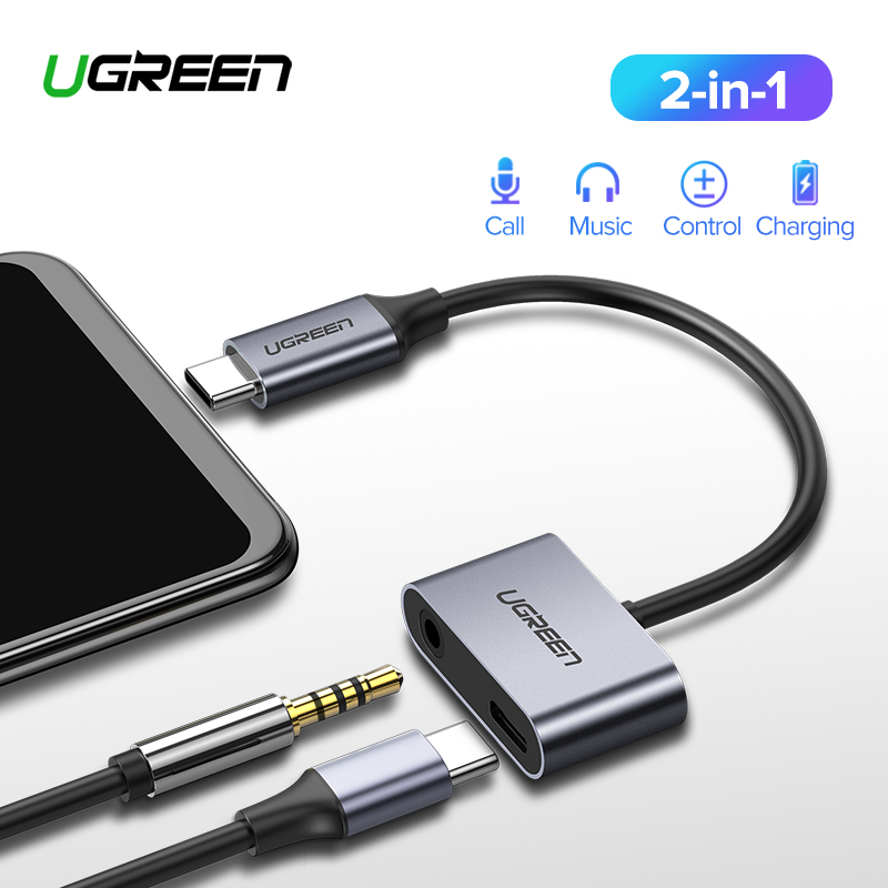 Ugreen USB C to Jack 3.5 Type C Cable Adapter For Huawei P20 Pro Xiaomi Mi 6 8 9 se Note USB Type C 3.5mm AUX Earphone Converter zwbra shower curtain