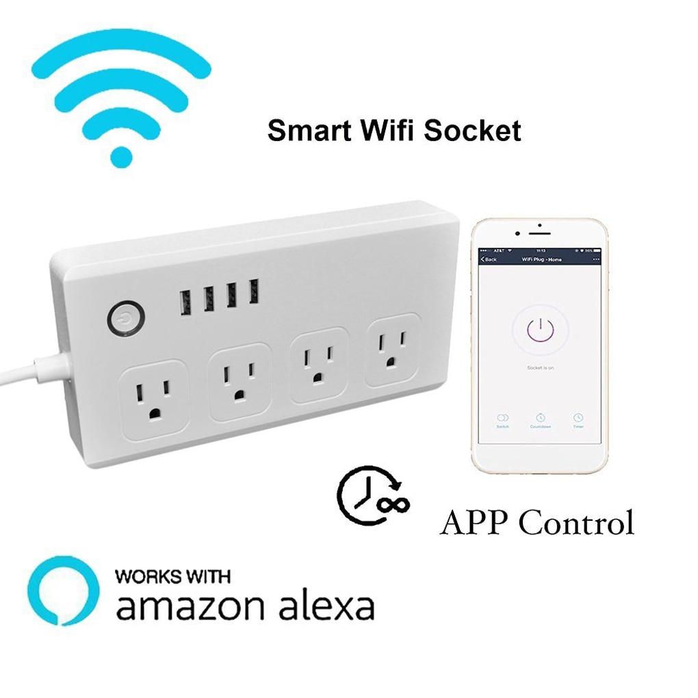 SM-S0301 US Multi Plug Power Socket Plug Outlet AC110V-240V Wireless Smart Wifi Socket Works With Alexa sm s0301 wireless control wifi multi plug power socket smart home automation us plug outlet