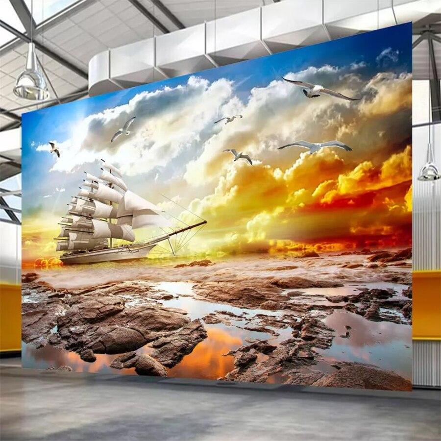 US $8 85 OFF Beibehang Kustom Wallpaper Mural 3d Matahari Terbenam Yang Indah Angin Berlayar Pemandangan Alam Living Room Latar Belakang Wallpaper
