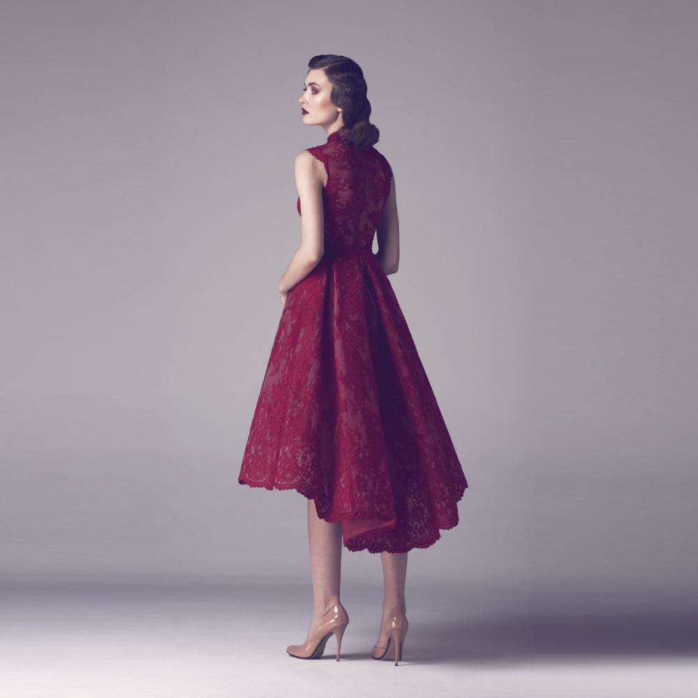 De color Rojo oscuro de Alta Cuello Alto Bajo Homecoming Vestidos de ...