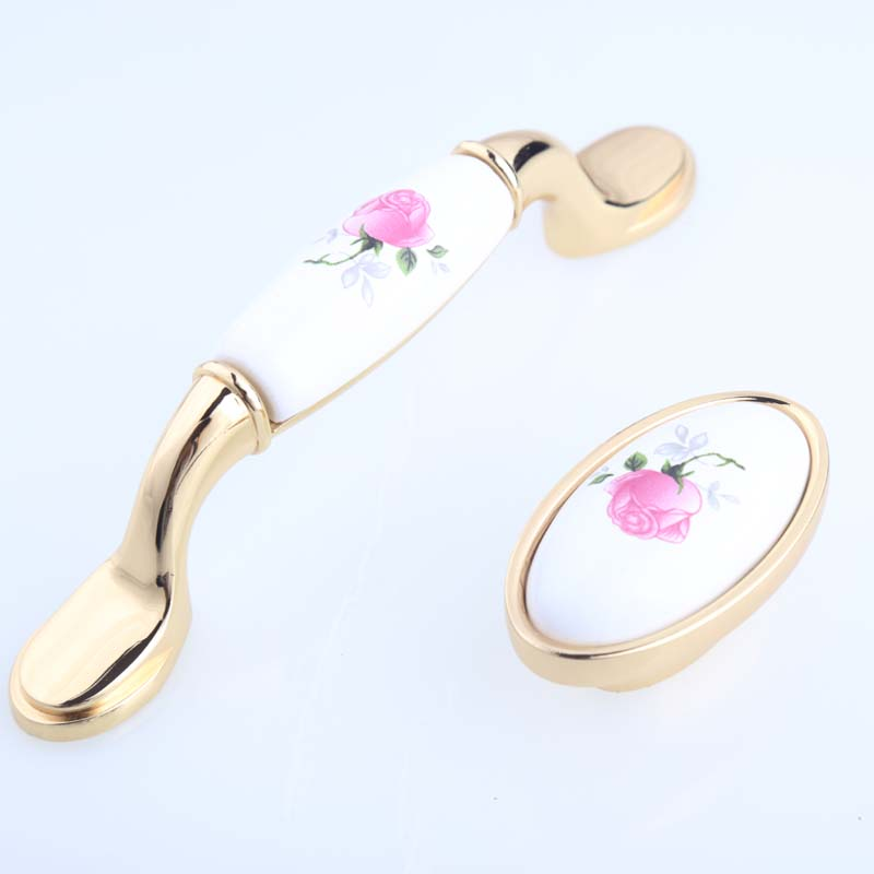 96mm modern fashion rural ceramic Tv table wine cabinet door handle silver gold drawer d cupboar knob pull rose porcelain knob title=
