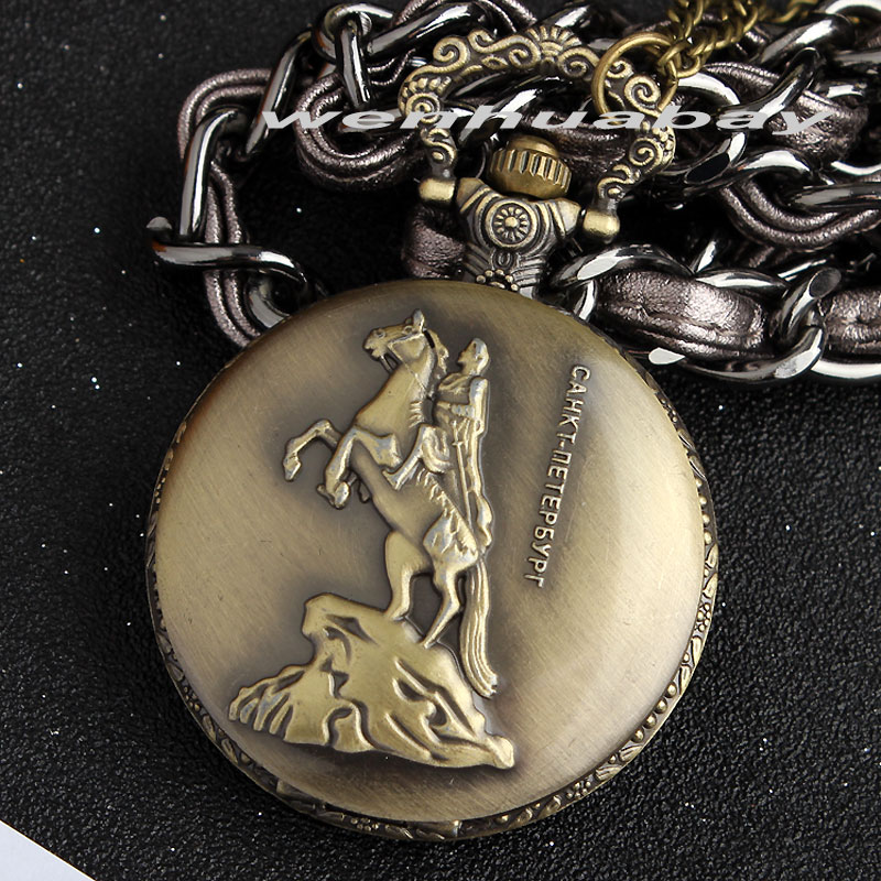 St.Petersburg Men Pocket Watch Vintage Retro Horseman Men's Quartz Fob Chain Watches Pendant Necklace Chain Women Mens Boy Gifts