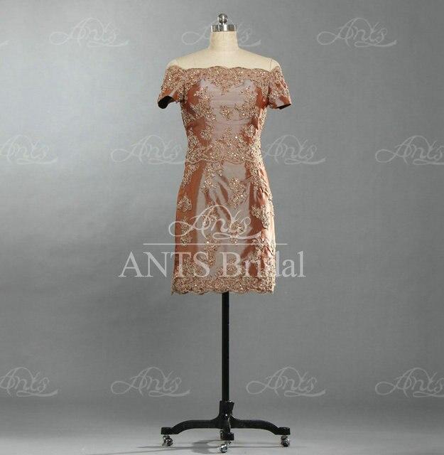 8ab212fc76d RE169 Vintage Brown Bead Lace Appliqued Taffeta Short Sleeve Short Mother  Of The Bride Dresses Sheath