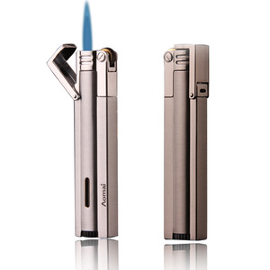 Image 2 - Compact Jet Lighter Gas Torch Turbo Flint Lighter Strip Windproof Metal Cigar Lighter 1300 C Butane Lighter Gadgets For Man